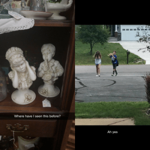 These statues I saw at the antique mall reminded me of something: Where have I seen this before?  Ah yes These statues I saw at the antique mall reminded me of something