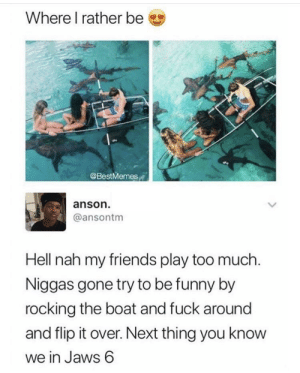 Dank, Friends, and Funny: Where I rather be  @BestMemes  anson  @ansontm  Hell nah my friends play too much  Niggas gone try to be funny by  rocking the boat and fuck around  and flip it over. Next thing you know  we in Jaws 6 Anyone else have friends like this? by realsebab MORE MEMES