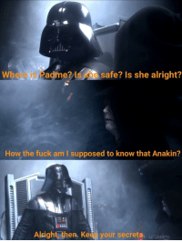 She just dead, bcs she sad.: Where is Padme? Is she safe? Is she alright?  How the fuck am I supposed to know that Anakin?  Altight  then. Ke your secrets. u/Genim She just dead, bcs she sad.