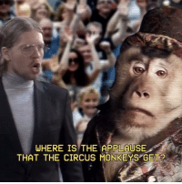 Applause: WHERE IS THE APPLAUSE  THAT THE CIRCUS MONKEYS GET?