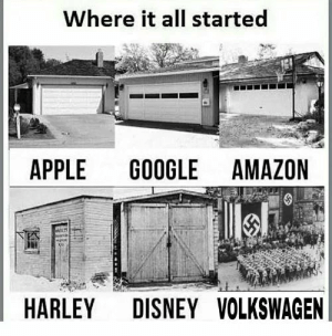 Never forget your roots: Where it all started  APPLE  GOOGLE AMAZON  DISNEY VOLKSWAGEN  HARLEY Never forget your roots