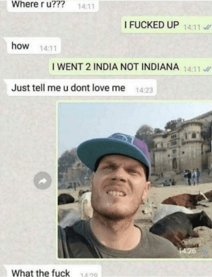 me irl: Where r u???  14:11  I FUCKED UP 14:11  how  14:11  I WENT 2 INDIA NOT INDIANA 14:11  Just tell me u dont love me  14:23  14:26  What the fuck  14 20 me irl