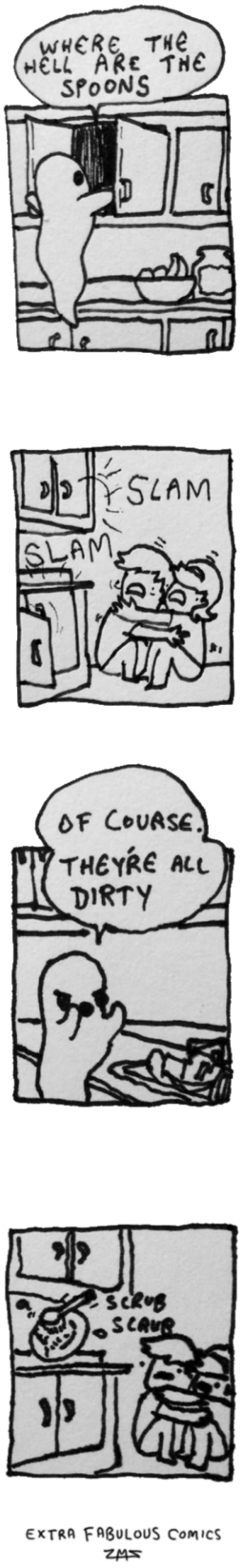 Omg, Tumblr, and Dirty: WHERE TH  HELL ARE THE  SPOONS  SLAM  SLAM  OF COUASE  THEYRE ALU  DIRTY  sca  EXTRA FABULOUS Comics  ZMS omg-images:angry ghost