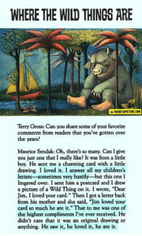 """Saw, Wild, and Charming: WHERE THE WILD THINGS ARE  A THEMETAPICTURE.COM  Terry Gross: Can you share some of your favorite  comments from readers that you've gotten over  the years?  Maurice Sendak: Oh, there's so many. Can I give  you just one that I really like? It was from a little  boy. He sent me a charming card with a little  drawing. I loved it. I answer all my children's  letters-sometimes very hastily-but this one I  lingered over. I sent him a postcard and I drew  a picture of a Wild Thing on it. I wrote, """"Dear  Jim, I loved your card."""" Then I got a letter back  from his mother and she said, """"Jim loved your  card so much he ate it."""" That to me was one of  the highest compliments I've ever received. He  didn't care that it was an original drawing or  anything. He saw it, he loved it, he ate it."""