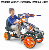 Memes, 🤖, and Nerf: WHERE WAS THIS WHEN I WAS A KID?! I need to get a few adult size versions of this. Who's down for a Nerf war?