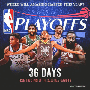 The Lakers will likely miss the playoffs, but this could be a best case scenario: bit.ly/LakersMissingPlayoffs: WHERE WILL AMAZING HAPPEN THIS YEAR?  PLAYOFFS  NBA  Re Kit  35  uCKS  36 DAYS  FROM THE START OF THE 2019 NBA PLAYOFFS The Lakers will likely miss the playoffs, but this could be a best case scenario: bit.ly/LakersMissingPlayoffs
