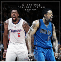 DeAndre Jordan, Jordans, and Sports: WHERE WILL  DE ANDRE JORDAN  END UP?  br  LIPPERS The Clippers and Mavericks are reportedly front-runners to land DeAndre Jordan 🏀