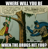 Batman, Drugs, and Justice League: WHERE WILL YOU BE  PON'T HOG THE WHOLE  GOT TO HOLD TIGHT!  C-CAN'T LET GO--OR  I'LL DROP DOWN  THROUGH THE  TREE, ROBIW--GIVE  ME GRABBING ROCm  TOO  GROUND  WHEN THE DRUGS HIT YOU? Batman tripping balls -Nightwing