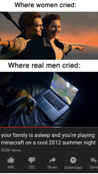 Family, Minecraft, and Summer: Where women cried:  Where real men cried:  your family is asleep and you're playing  minecraft on a cool 2012 summer night  303K views  49K  292 Share Download Save Lets go back😤😤😓