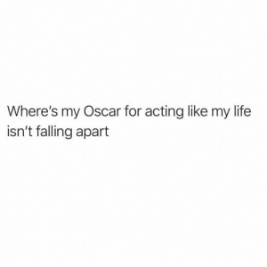 Life, Girl Memes, and Acting: Where's my Oscar for acting like my life  isn't falling apart I deserve them all