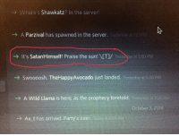 server: Where's Shawkatz? In the server!  -  A Parzival has spawned in the server. Yesterday at 121 PM  → it's SatanHimself! Praise the sun!  [T1  st  a  t 350M  → A Wild Llamaist  re asthe prophecy foretold.  Ax t has arrived. Party's over. T  203 AM