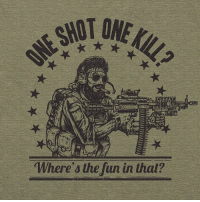"Memes, Tidal, and 🤖: Where's the fun in that? @valhallawear Our newest shirt!!! ""One shot one kill? Where's the fun in that?"" Any machine gunner knows nothing can beat the feeling of riding the lightning and blowing through thousands of rounds while simultaneously creating an actual ""hell on earth"" for the enemy as they crap their pants. A tidal wave of lead. And of course you don't let go of that damn trigger until your barrel is glowing red hot. Now that, my friend, sounds fun. These tees are going crazy fast. So if you want one before they sell out, shoot over to www.valhallawear.net LINK IN BIO ☝️☝☝ @valhallawear is vet owned and operated. Their clothing line is Military operator inspired and Viking approved. 🇺🇸 @valhallawear @valhallawear @valhallawear"