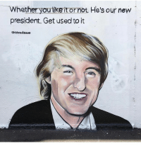 Wow @lushsux painted my meme on a huge ass wall in Australia the internet is still undefeated: Whether you tike it or not. He's our new  president, Get used to it  Shitheadsteve Wow @lushsux painted my meme on a huge ass wall in Australia the internet is still undefeated