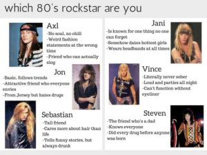 chleopatrapaige:  sleep-paralysis-junkie:  why do i make so many memes  Axl who yall?  vince, and motley crue in my top 3: which 8O's rockstar are you  Jani  Axl  No soul, no chill  -Weird fashion  -Is known for one thing no one  can forget  statements at the wrong -Somehow dates hottest girls  -Wears headbands at all times  time  Friend who can actually  sing  Vince  -Literally never sober  Loud and parties all night  Can't function without  eyeliner  Jon  Basic, follows trends  Attractive friend who everyone  envies  From Jersey but hates drugs  Steven  Sebastian  -Tall friend  -Cares more about hair than Knows everyone  life  -Tells funny stories, butWas  always drunk  -The friend who's a dad  -Did every drug before anyone chleopatrapaige:  sleep-paralysis-junkie:  why do i make so many memes  Axl who yall?  vince, and motley crue in my top 3