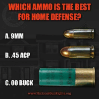 Is this even a question?: WHICH AMMO IS THE BEST  FOR HOME DEFENSE  A. 9MM  B. 45 ACP  C. 00 BUCK  www. National GunRights.org Is this even a question?