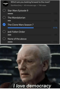 clone wars: Which are you looking forward to the most?  STAR WARS  StarWarsOnly 40 minutes ago 799 votes  O  Star Wars Episode 9  O The Mandalorian  The Clone Wars Season 7  O Jedi Fallen Order  O None of the above  61%  I love democracy