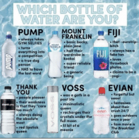 "Comment your answer: WHICH BOTTLE OF  WATER ARE YOU?  -PUMPFRANKLIN-FIJI  always takes  GYM SELFIES  .turns  everything into  a competition  . a true dog  person  - HAS to have  the last word  ,  . basic becky,  that-eurotrip-  plain Jane  bitch  half their  wardrobe is  kookai  . super reliable  friend  .always has  always haaSa  FIJI  fake tan  e loves  throwback  photos  a generic  being  claims to be a  Yogi-  THANK  YOU  VOSS  EVIAN  -was a goth in a  past life  . forgetful but  sweet  people pleaser  their weaknests  is that they ""care  too much  . always doing  the absolute  most  - red lipstick  queen  hankyou  minimalistic  fantasises  about their  queen  recharges their evian crush 24/7  crystals under the  full moon  - lil bit of a  meanie  goes outdoors  once a year  fave movie is  The Breakfast  Club Comment your answer"