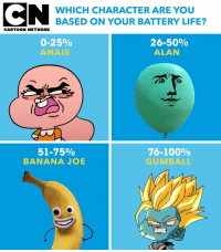 If you're Anais, it's time to charge your phone 📱🔋 batterylife tawog gumball: WHICH CHARACTER ARE YOU  BASED ON YOUR BATTERY LIFE?  CARTOON NETWORK  0-25%  ANAIS  26-50%  ALAN  51-75%  BANANA JOB  76-100%  GUMBALL If you're Anais, it's time to charge your phone 📱🔋 batterylife tawog gumball