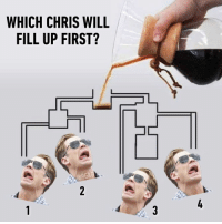 9gag, Memes, and Coffee: WHICH CHRIS WILL  FILL UP FIRST?  @9GA Who will get enough coffee first?⠀ chrisevans coffee 9gag
