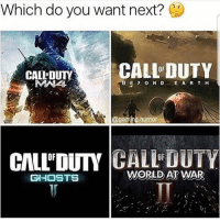Which do you want next?  CALL DUTY  CALL DUTV  ABE y O N D E A R T H  @gaming humor  CALL DUTY GHOSTS  WORLD AT WAR A lot of you will say Ghosts 2, personally I want WaW 2 or MW4. 😁