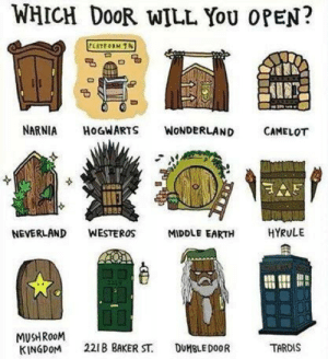 mush: WHICH DOOR WILL YOU OPEN?  PLATEORM 1N  NARNIA  HOGWARTS  WONDERLAND  CAMELOT  HYRULE  NEVERLAND  WESTEROS  MIDDLE EARTH  MUSH ROOM  KINGDOM  221B BAKER ST.  DUMBLEDOOR  TARDIS