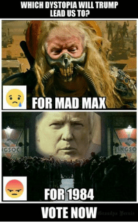 Mad Max: WHICH DYSTOPIA WILL TRUMP  LEAD US TOP  FOR MAD MAX  INGS  FOR 1984  VOTE NOW