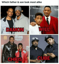 LookingGoodTho And ALL these Dads are just in their 40s too💯👍😎🤔They should've used a better or more recent pic of Chris Tucker & his son bcuz they look identical now.But Cube tho...OMG!!!!: Which father & son look most alike  Mercedes-Benz  TER  DAMON  MlcHAEL  ACKSON  IMMORTAL  JAC  CUBE  CHRIS  SON LookingGoodTho And ALL these Dads are just in their 40s too💯👍😎🤔They should've used a better or more recent pic of Chris Tucker & his son bcuz they look identical now.But Cube tho...OMG!!!!