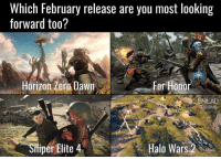 Got another corker? Let us know in the comments 👇: Which February release are you most looking  forward too?  Horizon Aero Dawn  For Honor  UNILAD  GAMING  Sniper Elite 4  Halo Wars  AARE Got another corker? Let us know in the comments 👇
