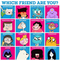 Dank, Life, and Queen: WHICH FRIEND ARE YOU?  ADVENTURER  HELPER  LIFE OF THE PARTYDRAMA QUEEN  PRACTICAL ONE  THE MOM  EMOTIONAL ONE  COUCH POTATO  0  BOOKWORM  SWEET ONE  AUTHORITY  COMEDIAN  GRUMP  SHY ONE  PHILOSOPHER  LONE WOLF Which title best describes you? 🤔