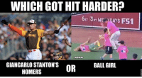 Which got hit harder? mlb baseball hrderby giancarlo: WHICH GOTHIT HARDER?  6ET13PT WE  ANS FS1  onal  @MLBMEME  GIANCARLO STANTON'S  BALL GIRL  OR  HOMERS Which got hit harder? mlb baseball hrderby giancarlo