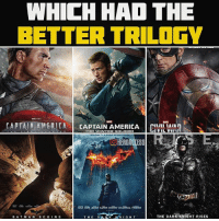 Tough choice, tough choice🤔 which had the better trilogy in your opinion? ~ Lopro⚡️: WHICH HAD THE  BETTER TRILOGY  CAPTAIN AMERICA  CAPTAIN AMERICA CIVIL MAIA  TOA WORLD WITHOUT  THE DARK KNIGHT RISES  DAR K KNIGHT  BAT MAN  BE G  N S  THE Tough choice, tough choice🤔 which had the better trilogy in your opinion? ~ Lopro⚡️