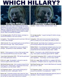 """Children, Crime, and Family: WHICH HILLARY?  Smeagol-Hillary  Gollum-Hillar  Iraq War: Voted in favor. 2011 email to corporate execs  Iraq War: """"I made a mistake, plain and simple."""" (2015)  specifically from Exxon-Mobil and JP Morgan: """"It's time for  the U.S. to start thinking of Iraq as a business opportunity  JPMorgan collectively paid the Clintons & Clinton Founda  tion at least $450K for speeches & Exxon-Mobil donated  over $1 million to the family's foundation  On marriage equality: (Pre-2013)"""" believe, marriage is a  On marriage equality: """"l support marriage for lesbian and gay  sacred bond between a man and a woman.  couples."""" (2013)  Immigration: """"They [children] should be sent back. We have mmigration: """"We need to show humanity. Deporting them  to send a clear message  which is contrary to our core values, just makes no sense  1994 Crime b  It's a very well thought out crime bill that is 1994 Crime b  went further than it needed to go and so now  both smart and tough."""" Also: """"Super predators  we are facing problems with mass incarceration  Welfare Reform: """"l worked hard to round up votes for its  Welfare Reform: """"my endorsement outraged some of our most  passage."""" """"Irecipients no longer deadbeats."""" (1996)  loyal supporters. In the painful aftermath, realized that I had  crossed the line from advocate to policy maker."""" (2003)  NAFTA: """"I think everyone is in favor of free and fair trade  NAFTA: 'I have been a critic of NAFTA from the very begin  and I think that NAFTA has proven its worth. (1996)  ning. have spoken consistently against NAFTA."""" (2008)  Trans-Pacific Partnership (TPP): """"TPP sets the gold stand  Trans-Pacific Partnership (TPP): """"I waited until it had actually  and in trade agreements"""" (2012  been negotiated  As of today, I am not in favor"""" (2016)  $15/hr min. wage: """"As president, I will work to raise the  $15/hr min. wage: Waits until $15/hr m.w. passes in NY & CA  minimum wage to  S12hr (Feb. 2016)  to endorse it. """"I will fight to raise min. wa"""