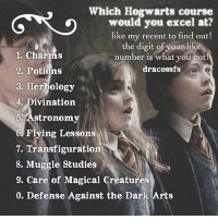 "Like my recent post and see the last digit to find out which Hogwarts course you would excel at! 💕 Comment down below! 😋 harrypotter thechosenone theboywholived hermionegranger ronweasley gryffindor bestfriends thegoldentrio dracomalfoy theboywhohadnochoice slytherin hogwarts ministryofmagic jkrowling harrypotterfilm harrypottercasts potterheads potterheadforlife harrypotterfact harrypotterfacts hpfact hpfacts thehpfacts danielradcliffe emmawatson rupertgrint tomfelton: Which Hogwarts course  G""<0 which  would you excel at?  like my recent to find out!  the digit of your like  number is what you got!  dracossfs  1. Charms  2. Potions  3. Herbology  4. Divination  5. Astronomy  6. Flying Lessons  7. Transfiguratioin  8. Muggle Studies  9. Care of Magical Creatures  0. Defense Against the Dark Arts Like my recent post and see the last digit to find out which Hogwarts course you would excel at! 💕 Comment down below! 😋 harrypotter thechosenone theboywholived hermionegranger ronweasley gryffindor bestfriends thegoldentrio dracomalfoy theboywhohadnochoice slytherin hogwarts ministryofmagic jkrowling harrypotterfilm harrypottercasts potterheads potterheadforlife harrypotterfact harrypotterfacts hpfact hpfacts thehpfacts danielradcliffe emmawatson rupertgrint tomfelton"