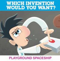 Memes, 🤖, and Flint: WHICH INVENTION  WOULD YOU WANT?  PLAYGROUND SPACESHIP Tell us what Flint Lockwood invention you'd like to get your hands on! cloudywithachanceofmeatballs