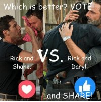 #TheWalkingDead fans, please VOTE for Rick Grimes today. :) (y)  Photo credit: Elliot Van Orman Productions: Which is bet  vOT  VS  Rick and  Rick and  Shane.  Daryl  and SHARE. #TheWalkingDead fans, please VOTE for Rick Grimes today. :) (y)  Photo credit: Elliot Van Orman Productions
