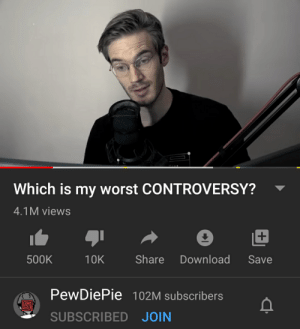 No meme but what is the name of background music used: Which is my worst CONTROVERSY?  4.1M views  Share  Download  500K  10K  Save  PewDiePie 102M subscribers  SUBSCRIBED JOIN No meme but what is the name of background music used