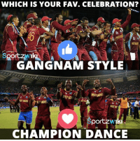 Which is your favorite Caribbean style celebration ?: WHICH IS YOUR FAV. CELEBRATION?  MESNI  SportzMI  GANGNAM STYLE  MES INDIES  EST INDIES  EST INDIE  WESTIN  portzwI  CHAMPION DANCE Which is your favorite Caribbean style celebration ?
