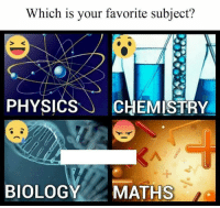 Memes, Physics, and Biology: Which is your favorite subject?  PHYSICS  CHEMISTRY  BIOLOGY  MATHS