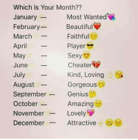 "Beautiful, Sexy, and Genius: Which Is Your Month??  January  February  March  April  May  June  July  August  September .  October …  November  December  Most Wanted  Beautiful  Faithful  Player  Sexy  Cheater  Kind, Loving  Gorgeous  Genius  Amazing  Lovely  Attractive .  (  ""…"