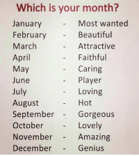 Beautiful, Memes, and Genius: Which is your month?  January  February  March  April  May  June  July  August  September  October  November  December  Most wanted  Beautiful  Attractive  Faithful  Caring  - Player  Loving  - Hot  Gorgeous  Lovely  Amazing  Genius Hot. bcbaba