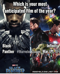 Memes, Black, and Black Panther: Which isyour most  anticipated film of the year?  Black  Panther #Marv  Infinity  kes. War(Pty)  HIS  FATHER'S  LEGACY  MARVEL STUDIOS  BLACK  PANTHFR  ASSEMBLE  NE LAST TIME IW or Black Panther??? (Or Both?) MarvelousJokes