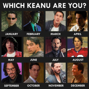 Memes, Buzzfeed, and Quiz: WHICH KEANU ARE YOU?  MARCH  JANUARY  FEBRUARY  APRIL  AUGUST  MAY  JUNE  JULY  ОСТОВER  NOVEMBER  DECEMBER  SEPTEMBER For more quizzes, follow BuzzFeed Quiz!