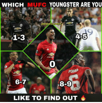 The last digit of likes is who you are 👀: WHICH MUFC YOUNGSTER ARE YOU  CREDDEVILSEDUT  CHEVROLET  1-3  4-5  0  POGBA  CHE  6-7  8-9  LIKE TO FIND OUT The last digit of likes is who you are 👀