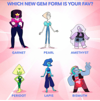 Memes, Amethyst, and 🤖: WHICH NEW GEM FORM IS YOUR FAV?  GARNET  PEARL  AMETHYST  PERIDOT  LAPIS  BISMUTH Literally all of them 🤩💯