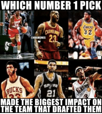 Tough choice.: WHICH NUMBER 1 PICK  3 2  ONBAMEMES  SPURS  BUCKS  MADE THE BIGGESTIMPACT ON  THE TEAM THAT DRAFTED THEM Tough choice.