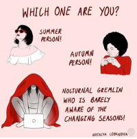 Memes, Summer, and 🤖: WHICH ONE ARE YOU?  SUMMER  PERSON!  AUTUMN  PERSON  NOCTURNAL GREMLIN  WHO TS 8AKELY  AWARE OF THE  CHANGING SEASONS!  NATALYA LOBANOVA I know which one I am (By @natalyalobanova)