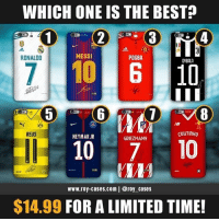 Memes, Neymar, and Best: WHICH ONE IS THE BEST?  4  RONALDO  MESSI  POGBA  DVBALA  8  REUS  COUTINHO  NEYMAR JR  GRIEZMANN  10 710  www.roy-cases.com | @roy cases  $14.99 FOR A LIMITED TIME! Which one is your favourite? 🤔 SALE ENDS TONIGHT! @roy_cases — FOLLOW @roy_cases and shop the new collection now! (Link in their Bio) 🔥 — www.roy-cases.com ✅ (@roy_cases)