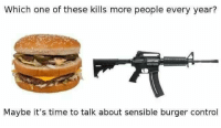 Memes, Control, and Time: Which one of these kills more people every year?  Maybe it's time to talk about sensible burger control (LC)