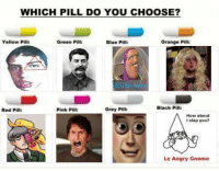 Red Pilled: WHICH PILL DO YOU CHOOSE?  Pil  Yellow Green P  Orange Pill:  Blue Pill:  Black Pi  Red Pill:  Grey P  Pink Pi  How about  slap you?  Le Angry Gnome