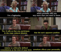 Memes, Delusion, and Big Bang Theory: which probably tells you  I'm a Sagittarius.  way more than you need to know  Yes. It tells us that you participate  that the sun's apparent position  in the mass cultural delusion  relative to arbitrarily defined  constellations at the time of your birth somehow affects your personality. - The Big Bang Theory  Like The Best of TV.